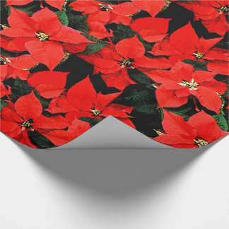 Christmas Watercolor Poinsettias Black Background Wrapping Paper