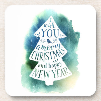 Christmas | Watercolor - Seasons Greetings Quote Coaster
