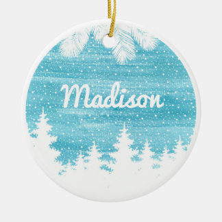 Christmas | Watercolor - Snow Pine Trees Ceramic Ornament