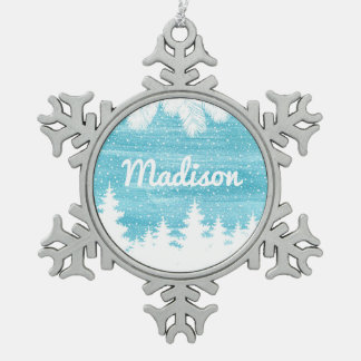 Christmas | Watercolor - Snow Pine Trees Snowflake Pewter Christmas Ornament