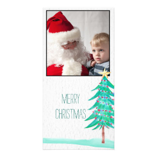 Christmas watercolor tree Photo Card