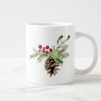 Christmas | Watercolor - Vintage Holly & Pinecone Large Coffee Mug