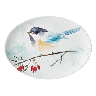 Christmas | Watercolor - Winter Bird & Berries Porcelain Serving Platter