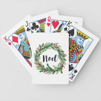 Christmas watercolor wreath bicycle playing cards