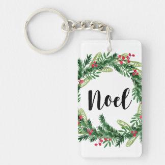 Christmas watercolor wreath key ring