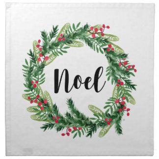 Christmas watercolor wreath napkin