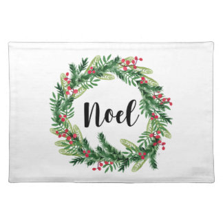 Christmas watercolor wreath placemat
