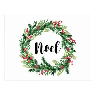 Christmas watercolor wreath postcard