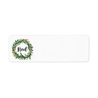 Christmas watercolor wreath return address label