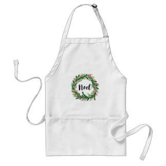 Christmas watercolor wreath standard apron