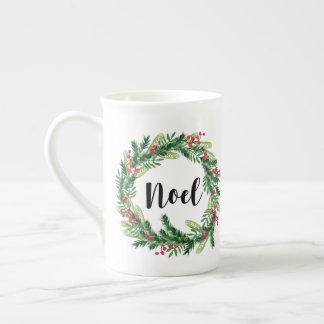 Christmas watercolor wreath tea cup