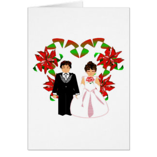 Christmas Wedding Couple I With Heart Wreath Note Card
