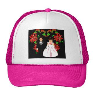 Christmas Wedding Couple In Pink Heart Wreath I Cap