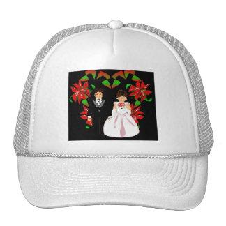 Christmas Wedding Couple In White Heart Wreath I Hat