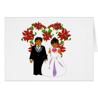 Christmas Wedding Couple With Heart Wreath Note Card