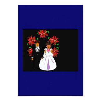 Christmas Wedding Couple With Wreath Blue Black Invitation
