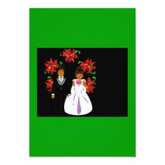 Christmas Wedding Couple With Wreath In Green 13 Cm X 18 Cm Invitation Card