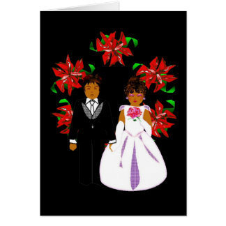 Christmas Wedding Couple With Wreath Note Card