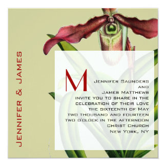 Christmas Wedding Invitation Orchid Red Green