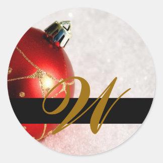 Christmas Wedding Monogram Invitation & Favor Seal Round Sticker