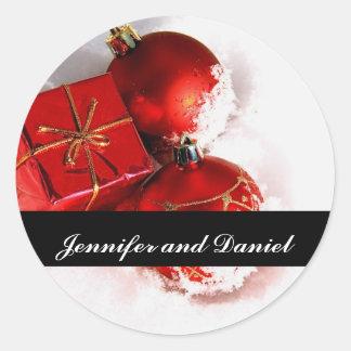 Christmas Wedding Ornament Invitation Seal Sticker