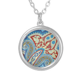 Christmas wedding ornament. Stylish paisley design Silver Plated Necklace