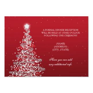 Christmas Wedding Reception Red Silver 11 Cm X 16 Cm Invitation Card