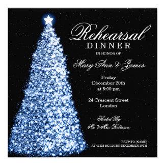 Christmas Wedding Rehearsal Dinner Blue Custom Announcement