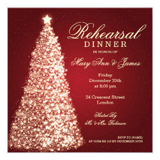 Christmas Wedding Rehearsal Dinner Gold Red Personalized Invite