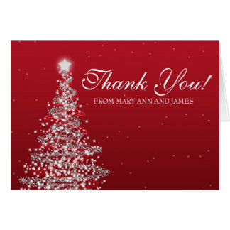 "Christmas Wedding ""Thank you"" Red Silver Card"
