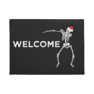 Christmas Welcome Doormat Dabbing Skeleton Santa