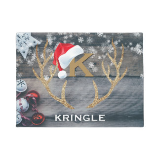 Christmas Welcome Santa Claus Hat Reindeer Antlers Doormat