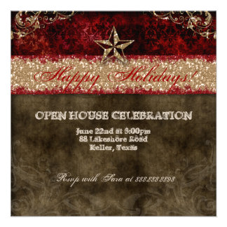 Christmas Western Vintage Photocard Damask Star Announcements