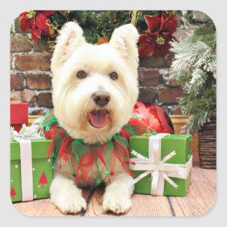 Christmas - Westie - Lucky Square Stickers