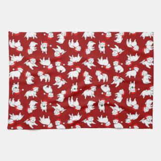 Christmas Westies Tea Towel