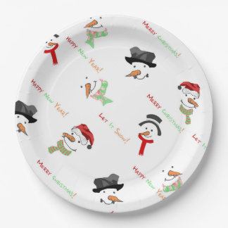 Christmas Whimsical Snowman Pattern Paper Plate