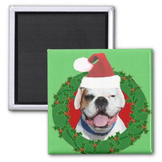 Christmas White Boxer Square Magnet