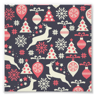 Christmas White Deers and Trees on Blue Pattern Photo
