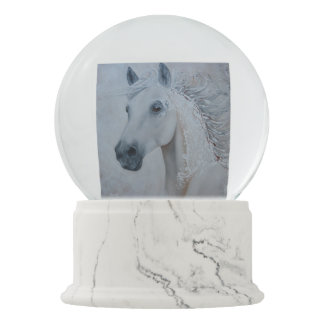 Christmas White Horse Painting Snow Globe