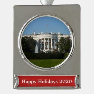 Christmas White House for Holidays Washington DC Silver Plated Banner Ornament