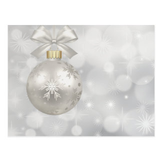 Christmas white ornament ribbon sparkle postcard