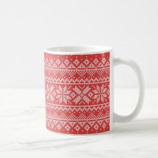 Christmas White & Red Snowflake Knitting Pattern Coffee Mug