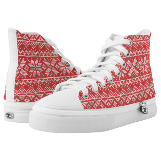 Christmas White & Red Snowflake Knitting Pattern High Tops