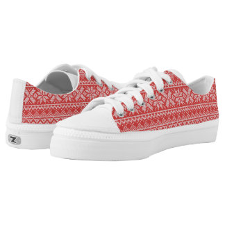 Christmas White & Red Snowflake Knitting Pattern Low Tops
