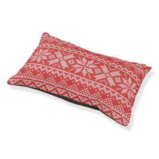 Christmas White & Red Snowflake Knitting Pattern Pet Bed