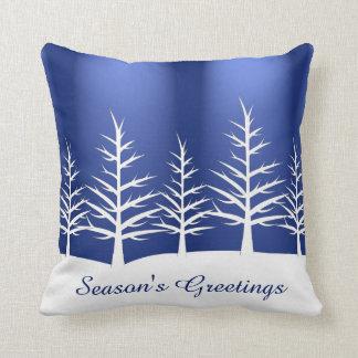 Christmas White Trees Snow Cushion