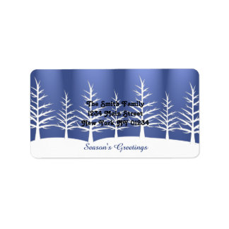Christmas White Trees Snow Label