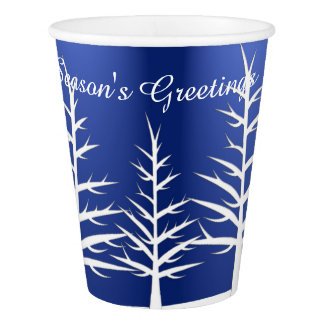 Christmas White Trees Snow Paper Cup