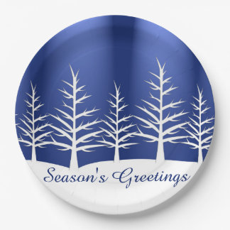 Christmas White Trees Snow Paper Plate