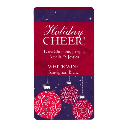 Christmas wine label baubles red blue name shipping label